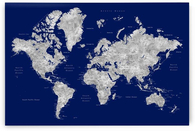 Detailed grey and blue watercolor world map by blursbyai by blursbyai
