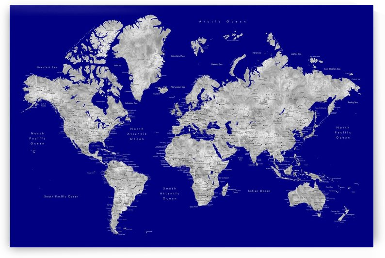 Detailed grey and navy blue watercolor world map by blursbyai by blursbyai