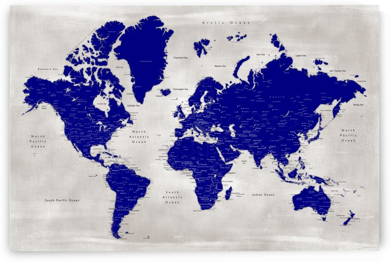 Detailed navy blue and distressed grey world map by blursbyai by blursbyai