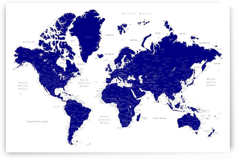 Detailed navy blue world map by blursbyai by blursbyai