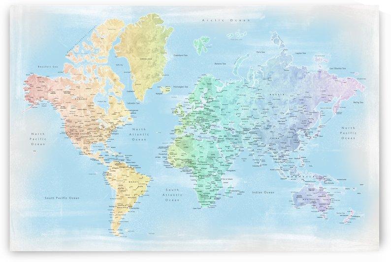 Detailed pastel watercolor world map in distressed style by blursbyai by blursbyai