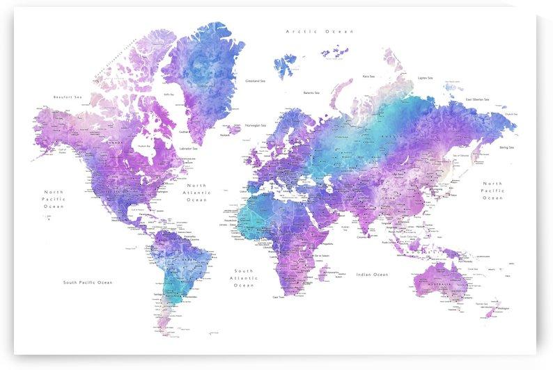 Detailed pink, fucshia, teal and blue watercolor world map by blursbyai by blursbyai