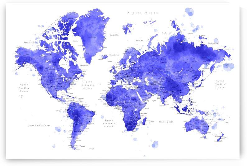 Detailed purple watercolor world map by blursbyai by blursbyai