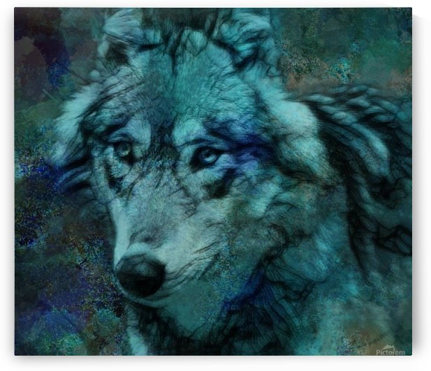Wolf of Blue Abstract by Jeremy Lyman