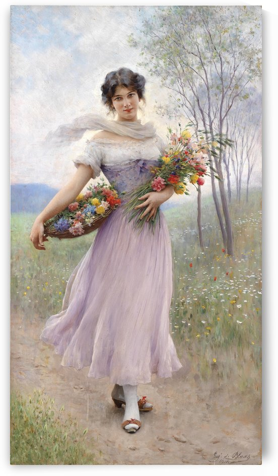 Girl in a lilac coloured dress with bouquet of flowers by Eugene de Blaas