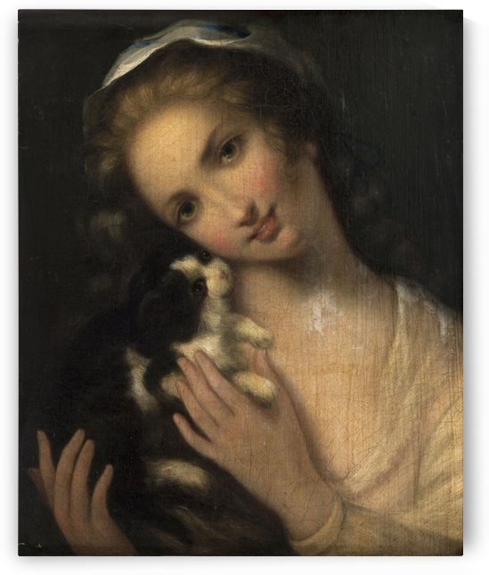 Jeune fille au chat by Anonyme
