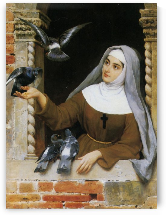 Pigeons and nun by Eugene de Blaas