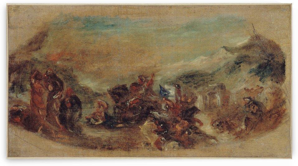 Esquisse pour la bibliotheque du palais Bourbon Attila suivi de ses hordes barbares foule aux pieds l Italie et les Arts by Eugene Delacroix