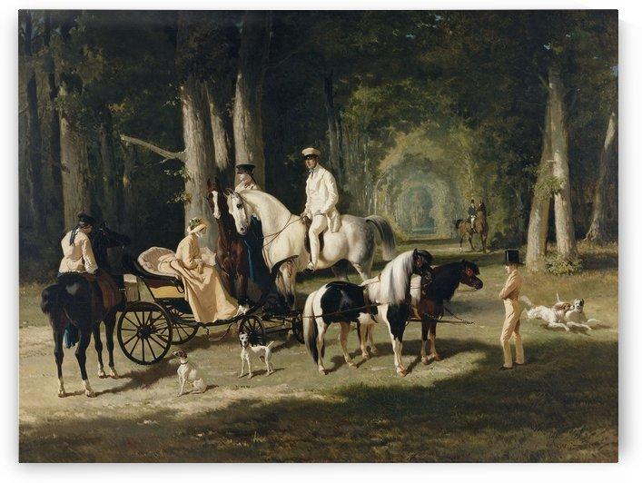 Monsieur et Madame Mosselman et leurs deux filles by Alfred de Dreux