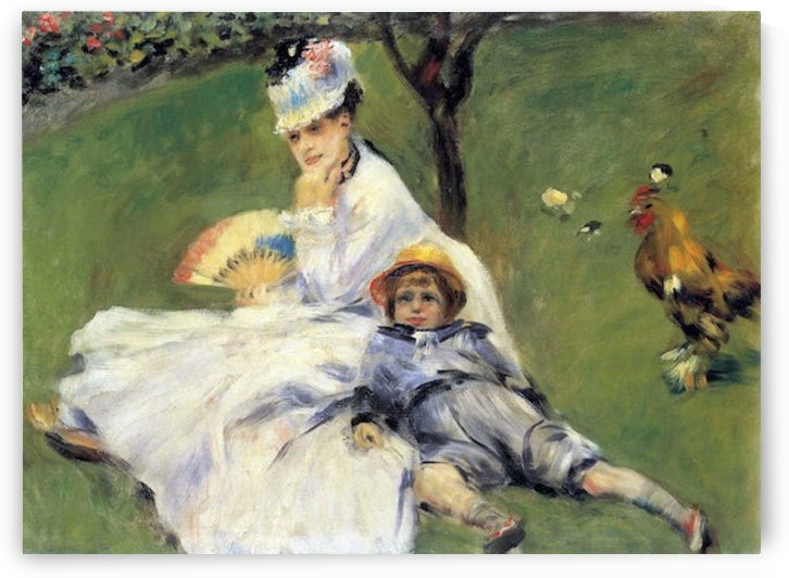 Camille Monet and her son Jean in the garden of Argenteuil by Renoir by Renoir