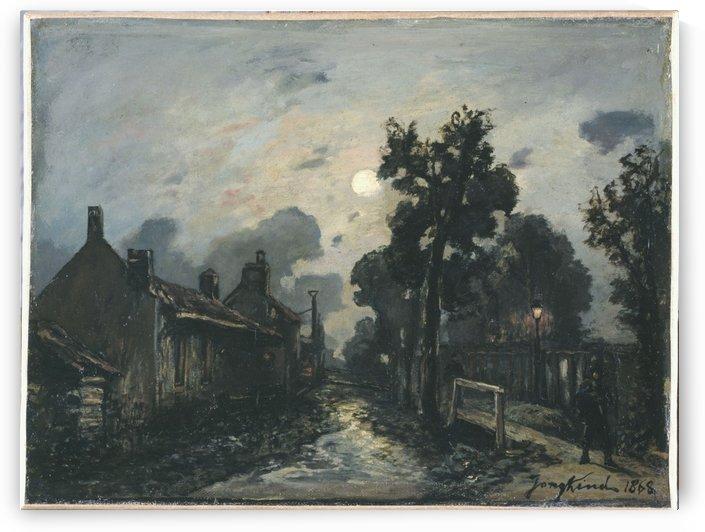 Une rue a Delft le soir by Johan Barthold Jongkind
