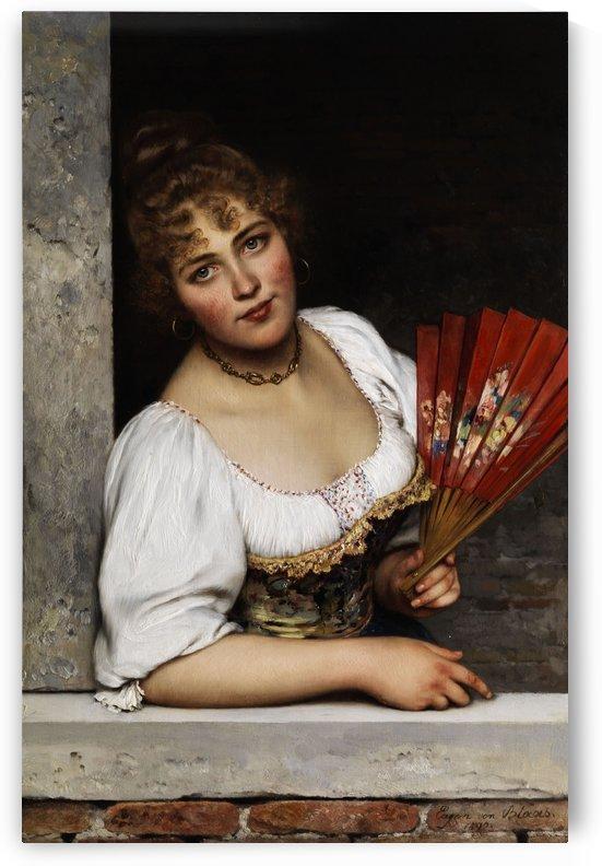 Der rote Facher by Eugene de Blaas
