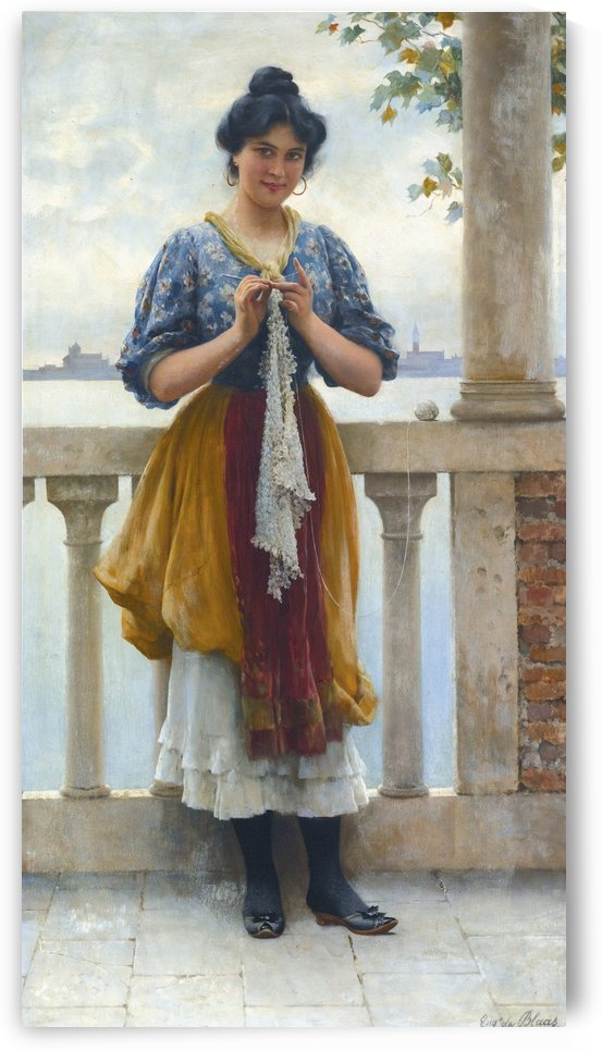 Woman knitting on balcony by Eugene de Blaas