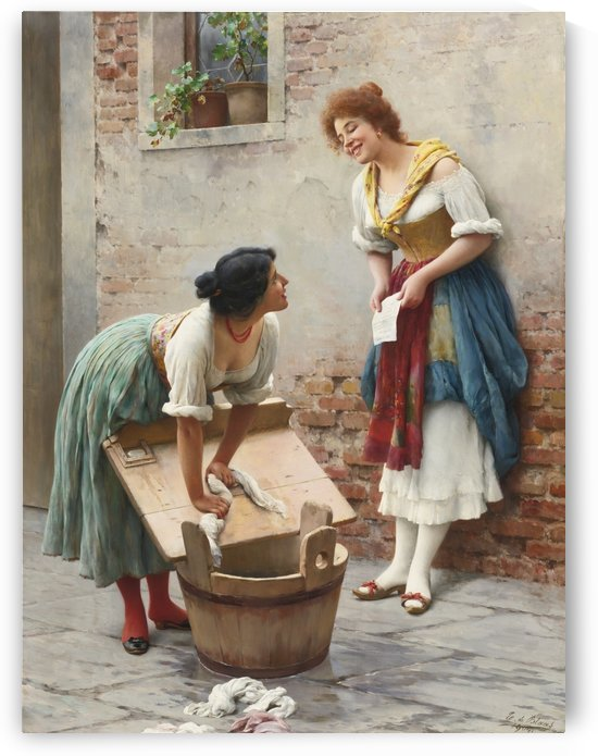 Washing clothes while talking by Eugene de Blaas