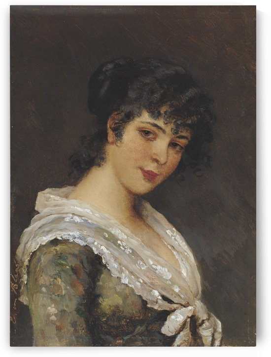 Portrait of a young brunette woman by Eugene de Blaas