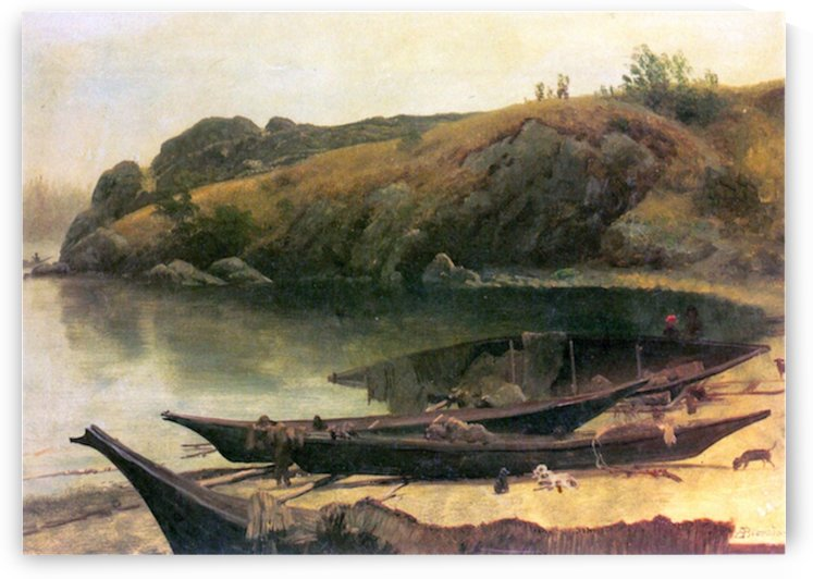 Canoes by Bierstadt by Bierstadt