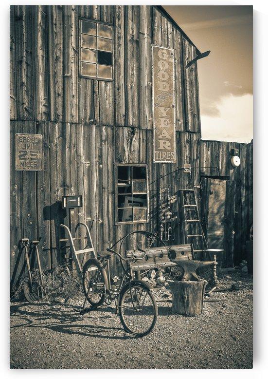 Barn and Bike in Sepia by Jarmila Kostliva Studio