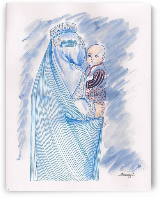 Embroidered Blue Lady-Cage by Jayne Somogy