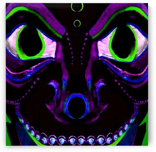 Demon Ethnic Mask Extreme Close Up Illustration by Daniel Ferreia Leites Ciccarino