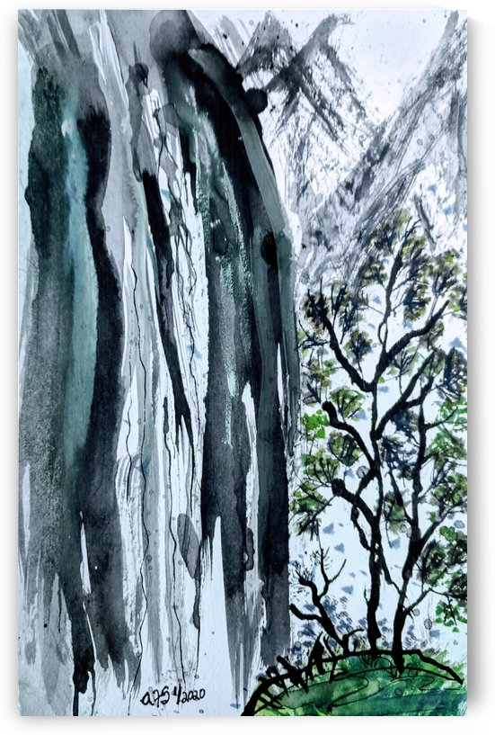 Waterfall in ink by Aurelia Schanzenbacher Sisters Fine Arts