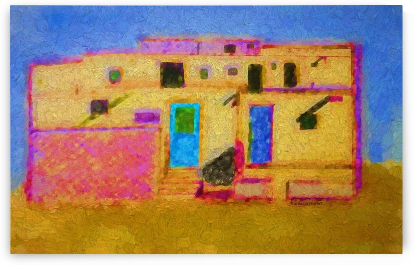 Adobe House New Mexico by Aurelia Schanzenbacher Sisters Fine Arts