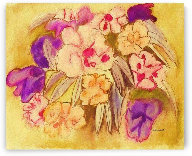 Pansies continuous line by Aurelia Schanzenbacher Sisters Fine Arts