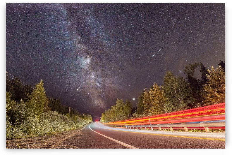 Milky way Shooting Star and Car Light Trails by Lrenz
