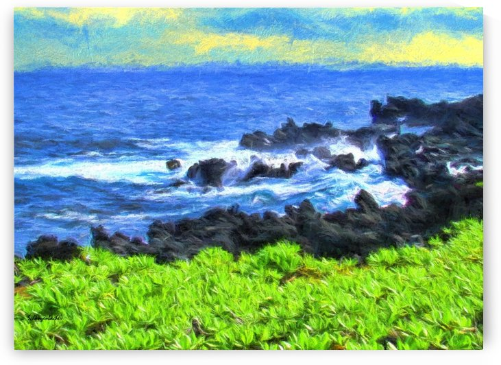 Hana Beach Hawaii Watercolor by Aurelia Schanzenbacher Sisters Fine Arts