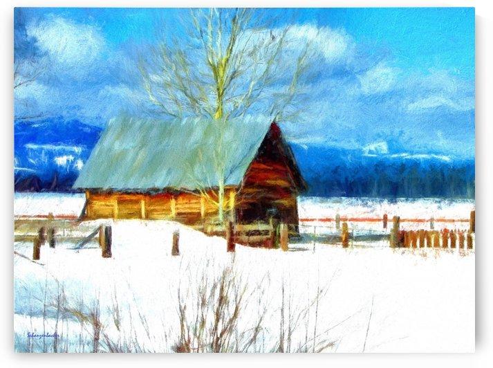 Winter Homestead Watercolor  by Aurelia Schanzenbacher Sisters Fine Arts