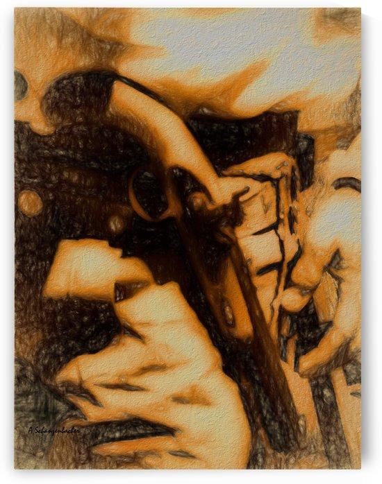 U.S. Civil War Gun and Holster FA by Aurelia Schanzenbacher Sisters Fine Arts