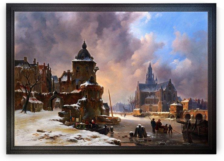 Winter Cityscape With Frozen River by Bartholomeus van Hove by xzendor7