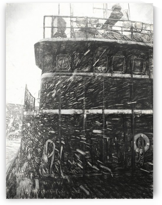 Bering sea storm charcoal by Aurelia Schanzenbacher Sisters Fine Arts