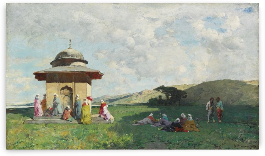 Landscape with people and small mosque by Alberto Pasini