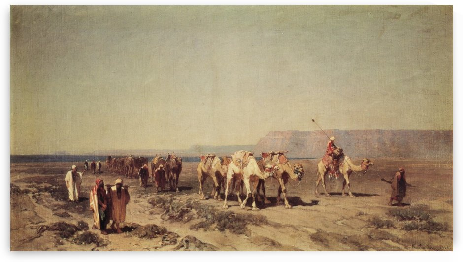 Caravan on the shores of the Red sea by Alberto Pasini