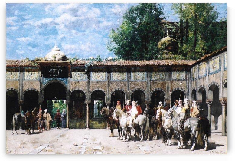 Cavalieri Circassi Che Aspettano Il Loro Capo by Alberto Pasini