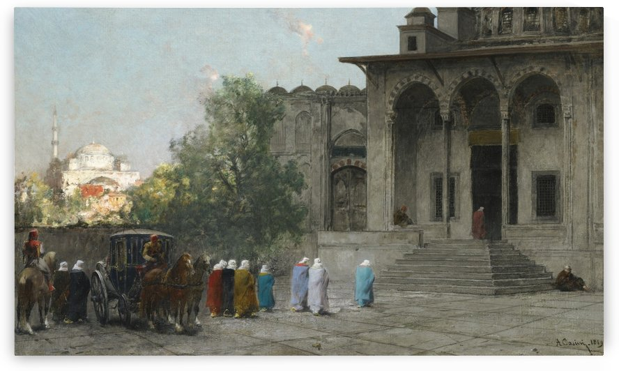 Entering mosque by Alberto Pasini