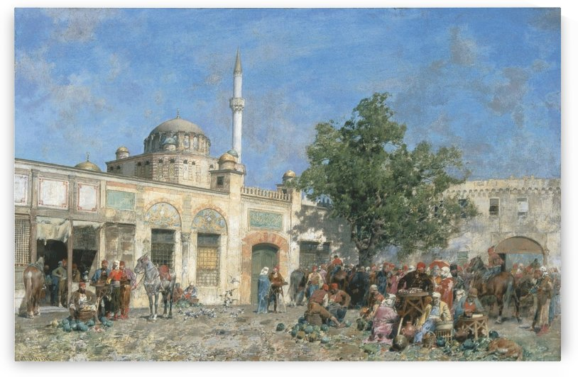 The market of Constantinople by Alberto Pasini
