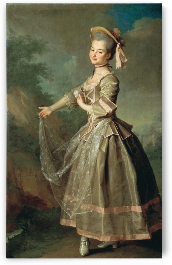 Portrait of lady with large dress by Dmitry Levitzky