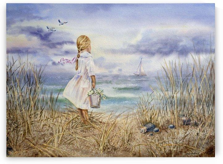 Girl Standing At The Ocean Watching Sailboat and Birds by Irina Sztukowski