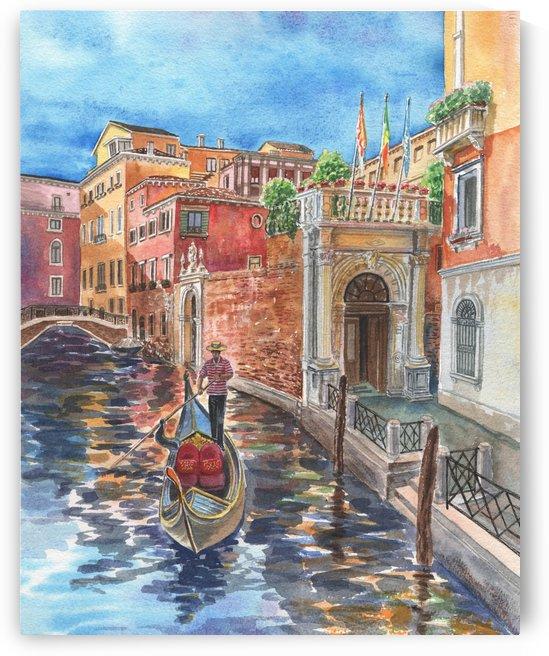Venice Canal And Gondolier Italian City Landscape  by Irina Sztukowski