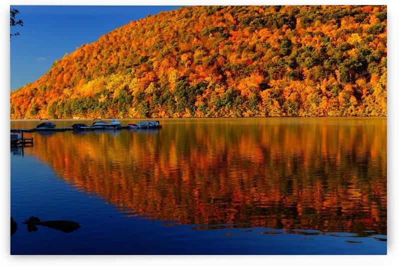 New England Peak Fall Lake Reflection by Priscilla Lupo