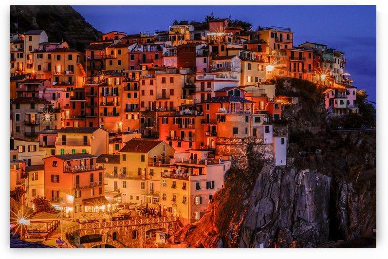 Romantic Riomaggiore Cinque Terre Italy at Twilight by Priscilla Lupo