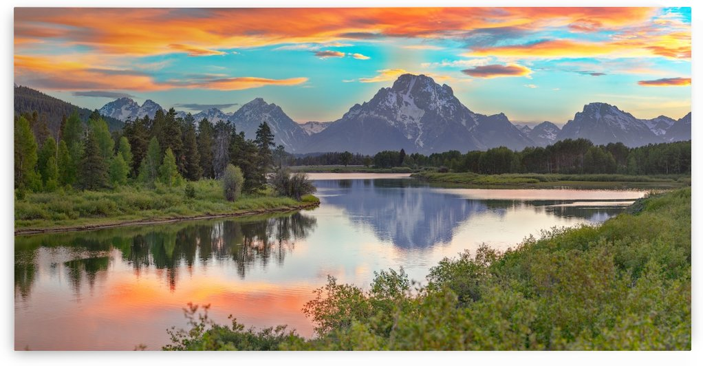 Oxbow Sunset -- 10 ft. x 20 ft. Wall Mural by John Freeman