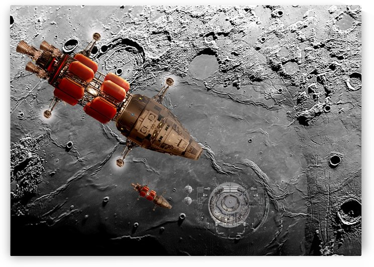 Lunar Landing at Alpha Base One by Bill Wright