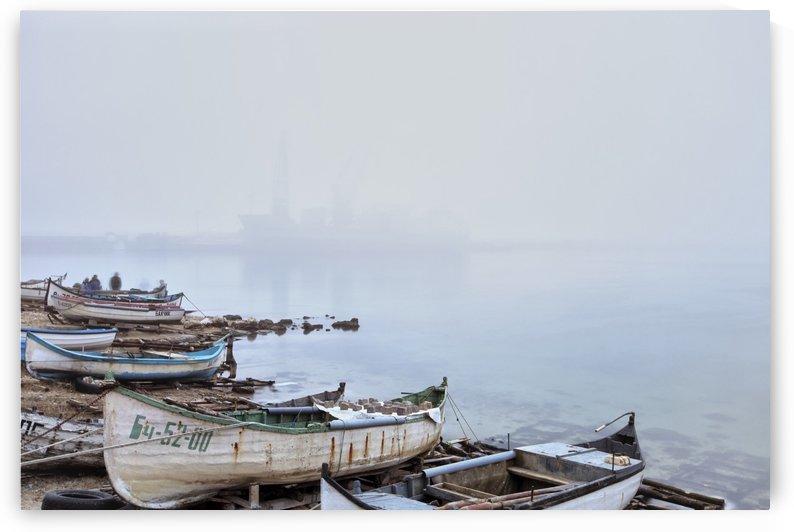 Fishing boats in fog by Pavel Gospodinov