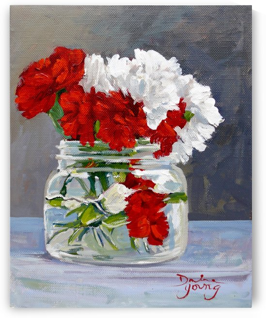 Carnations in a Mason Jar by Darlene Young Canadian Artist