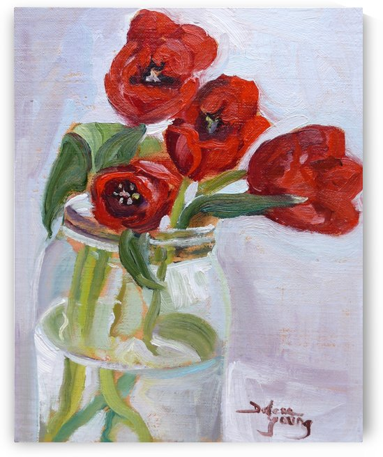 Red Tulips in a Jar by Darlene Young Canadian Artist