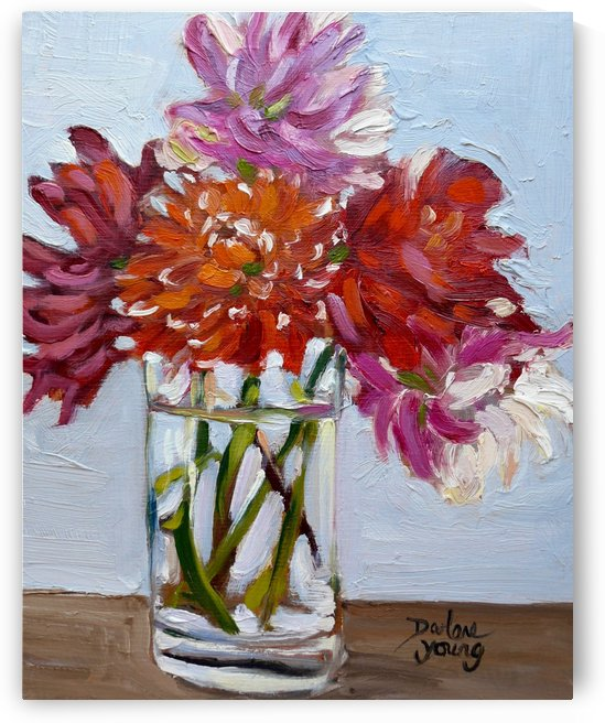Dahlias in a Glass by Darlene Young Canadian Artist