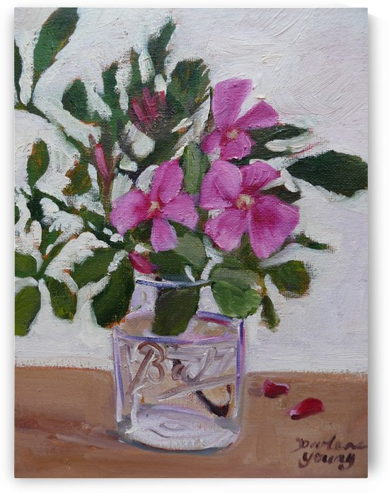 Wild Roses in a Jar by Darlene Young Canadian Artist