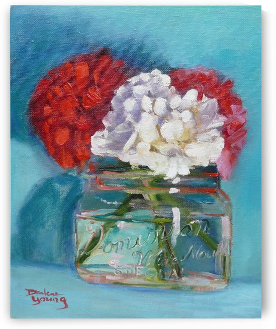 Carnations in a Jar by Darlene Young Canadian Artist